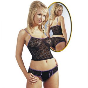 ΜΑΎΡΟ ΜΕ ΜΟΒ PANTY ΚΑΙ TOP BY COTTELLI COLLECTION L