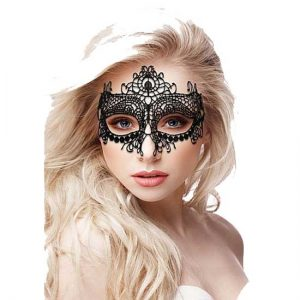 QUEEN LACE BLACK MASK BY OUCH ΜΆΣΚΑ ΜΕ ΑΝΟΙΚΤΆ ΜΆΤΙΑ